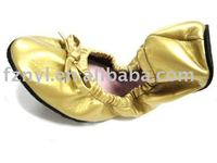 fashion dance shoes pu foldable ballet shoes high quality