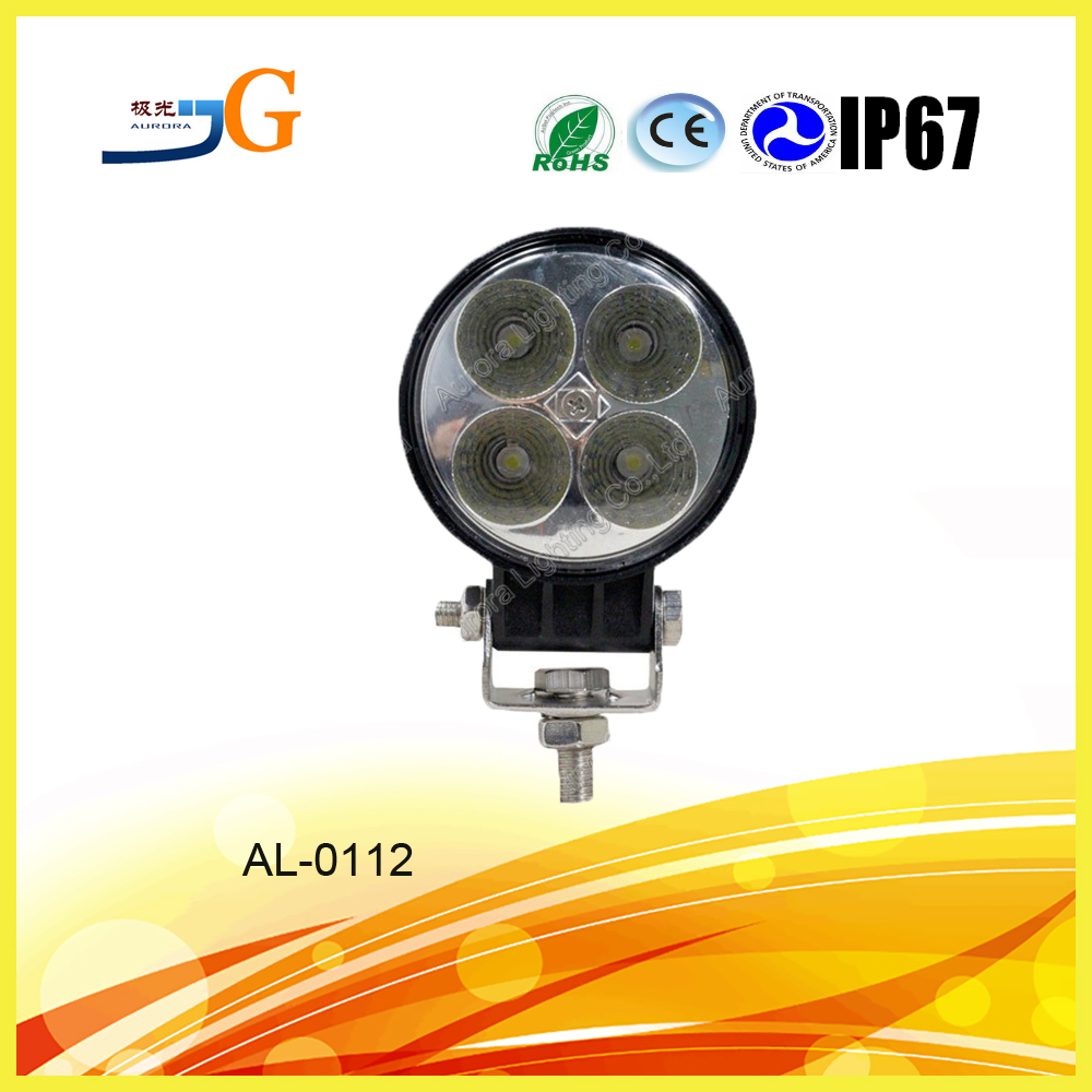wholesales round shape CE ROHS listed waterproof 12w tractor led work light ,led offroad work light bar AAL-0112