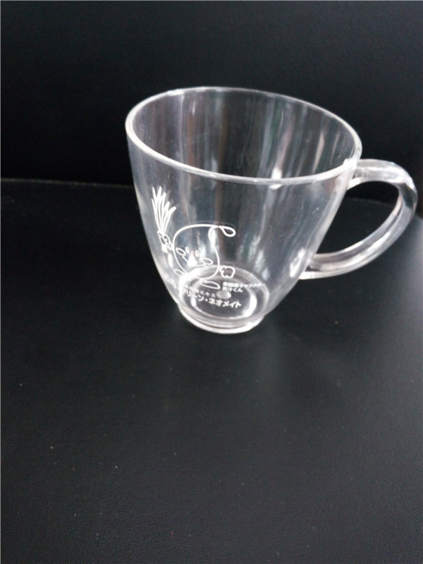 Printed Plastic Small Bottom Water Cup with Handle Clear Acrylic Mug