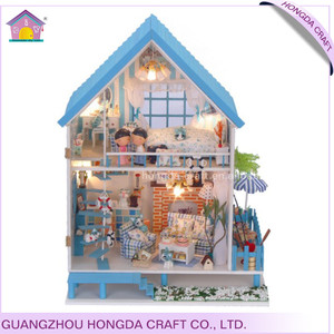 Handcrafted with light and furniture dollhouse diy kit wooden craft toy