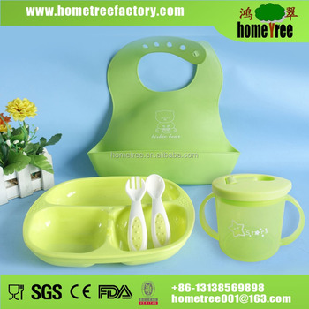 3 in 1 bowl plate and bib baby feeding gift set
