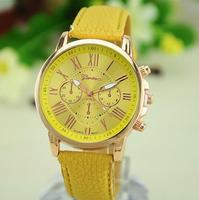 2015 Hot SELLING Geneva Luxury Women Leather Analog Quartz watches Numerals Wrist Watch Platinum Watch high quality