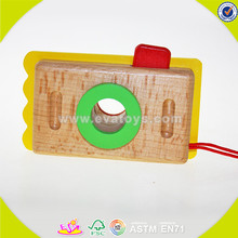 wholesale brand new kids wooden mini camera toy,Cute Wooden craft camera for kids,Creative hot sale wooden camera toy W01A075