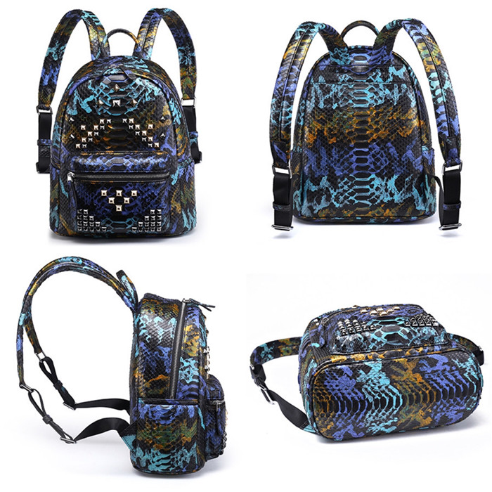 Custom Fashion Luxury Genuine Python Snake Skin Backpack Bag for Men