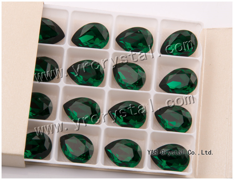 Water Drop Emerald Crystal Chaton Fancy Stone For Clothing