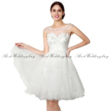 Special Offer Ivory Sheer Strap Crystal Embroidery Tulle Short Beach Wedding Dresses