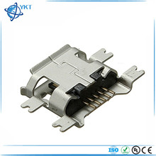 Micro USB Connector receptacle B Type 5Pin SMT mid-mount below 1.27mm PCB right angle reflow solder