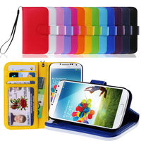 ID Card Wallet leather flip Case Cover Skin for Samsung Galaxy S4 SIV i9500 i9505