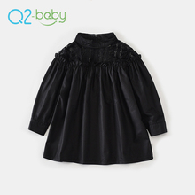 Q2-baby 2018 Custom Designs Children Black Frocks Long Sleeve Girl Party Lace Dress