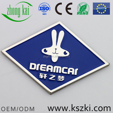 XUAN ZHI MENG Car Club metal car emblem, car logos with names, whiter rabbit head pattern and rhombus shape design