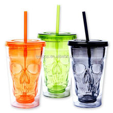 Newest Skull Tumbler With Straw Plastic Drinking Cup 100% Bpa Free,16oz insulated doubel walled skull traveler tumbler with lid