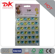 mixed color heart shape rhinestone stickers