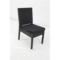 Armless Aluminum Frame rattan/wicker outdoor dinning chair with cushion