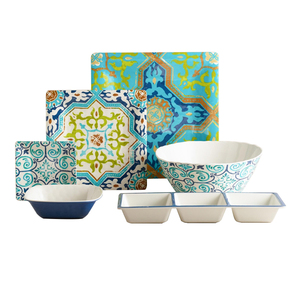 Western Design Food Grade Rectangular Melamine 3 Section Bowl With Printing