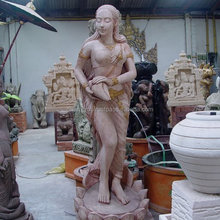welcome Pink sandstone lady statue Woman decorative marble figure statue