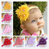 three flower pearl headband for baby girls + elastic hair bands+children jewelry hair accessories for kids BTS014