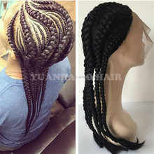 Fashion Synthetic Braid Hair Cornrow Rock Style Braided Lace Wigs for Black Women