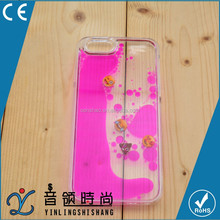 China mobile phone supplier liquid case for iphone/Samsung, hard pc moving liquid emoji design cell phone case cover