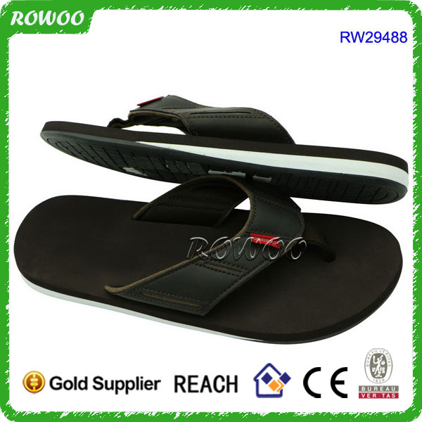 RW29488 leather chappals men, high quality men leather flip flops