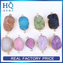 Colors nature druzy stones wholesale 316l stainless steel jewelry pandent