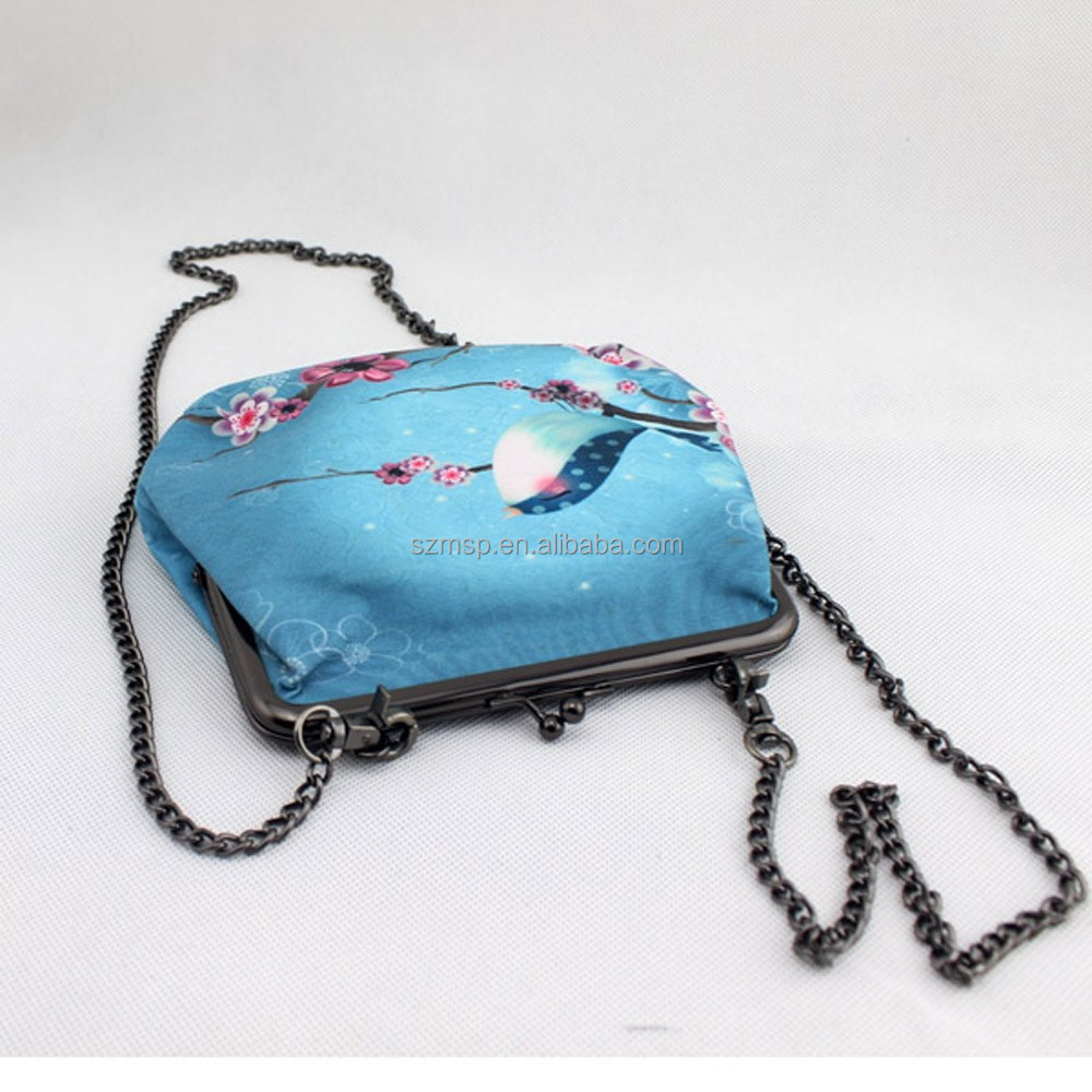 Metal chain strap print cotton wallet purse