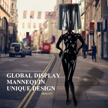 Fashional window display model with lamp shape head black female women fashion mannequin