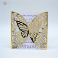Shiny gold laser cut elegant butterfly wedding invitations