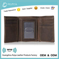 Leather Trifold ID Credit Card Wallet Cow Leather Wallet Custom Leather Wallet