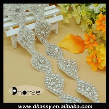 2016 Fashion wave floral sash crystal trim/garment accessories rhinestone border trim DH-1655