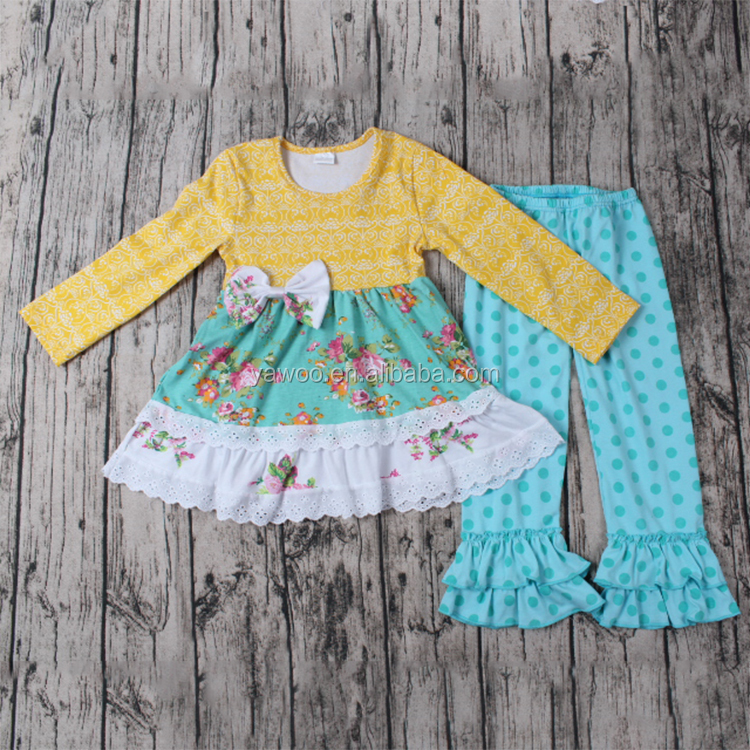2017 fall boutique girl clothing baby clothes mustard pie remake outfits kids clothes