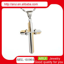 pendants charms silver and yellow cross laser pendant