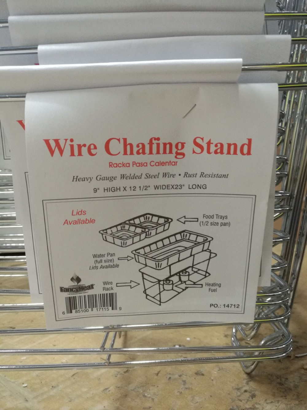 Full Size Chrome Wire Chafer Stand