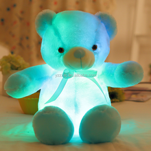 free sample 30/50cmcwholesale led coloring teddy bear colorful stuffed led teddy bear led light up teddy bear plush stuffed toy