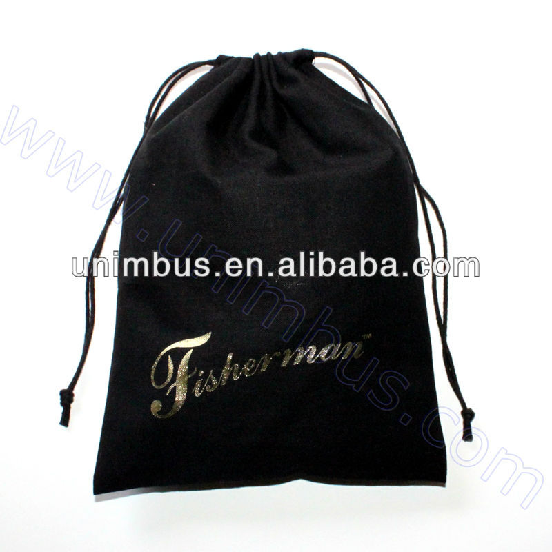 small black cotton fabric drawstring pouch bag
