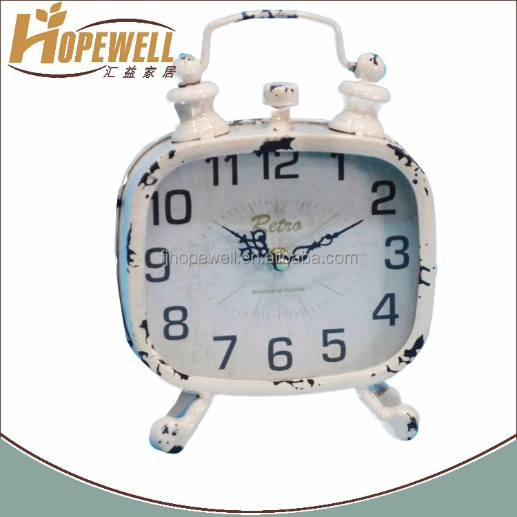 retro twin bell alarm shape white metal clock to customize