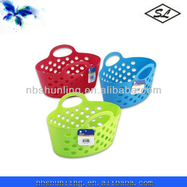"13"" plastic bread basket with 2 handles"