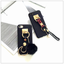 Imitation Leather Retro Ring Plush Ball Mobile Phone Case for iPhone 7 7 Plus