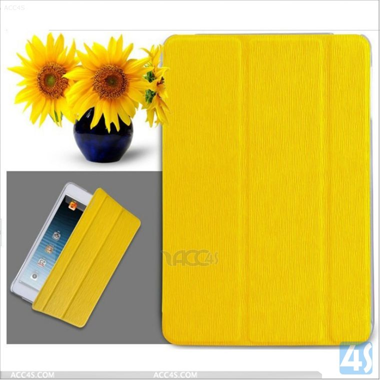 Yellow Toothpick Pattern Leather Flip Case for iPad Mini with Retina Display/ iPad Mini 2 P-iPDMINICASE141