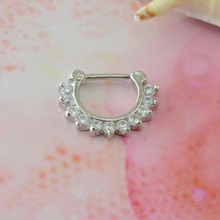 Charming Hoop Nose Stud stainless steel BCR Plated Piercing jewellry Nose Ring with Crystal