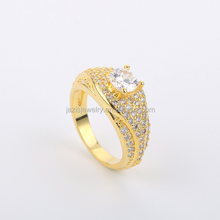 Anti Allergy Cubic Zirconia Paved Engagement Rings Sets Gold Color Crystal Wedding <strong>Jewelry</strong> For Dubai
