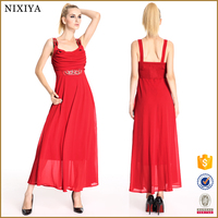 Red Color Latest Design Plain Chiffon Dress In China Manufacture