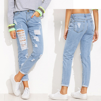 wholesale women's clothing lady latest fashion denim Extreme Distressed Roll Hem brushed Jeans