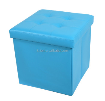 Top quality!! block cover blue ottoman organizer