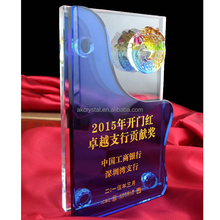 New design business award crystal color glass trophy/clear blue crystal award liuli plaque glass