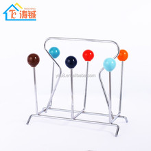 Chrome Plated Wire Cup Holder With Colorful Ceramic Balls/Glass Dish Holder