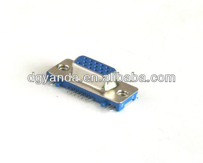 Slim d-sub 15p female right angle dip type connector