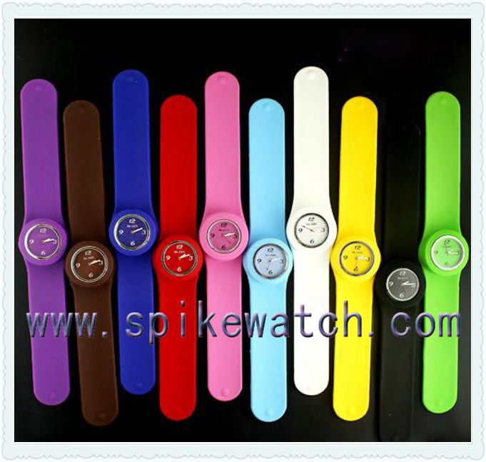 Amazing waterproof kids slap band watches, silicon snap strap watch, snap on wrist watches
