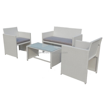 wholesale outdoor white rattan wicker furniture with gray cushions