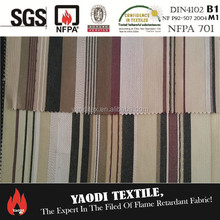 Cheap 100% polyester inherent flame retardant fire resistant fireproof stripe fabric for curtains