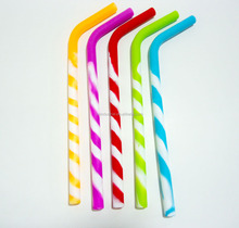 2016 Wholesale High Quality Silicone Reusable Drinking Straws of 5 Pack Stripes